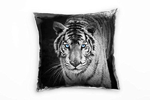 Paul Sinus Art Tiere, Schwarz, Weiß, Tiger mit Blauen Augen, Nah Deko Kissen 40x40cm für Couch Sofa Lounge Zierkissen - Dekoration Zum Wohlfühlen Hergestellt in Deutschland