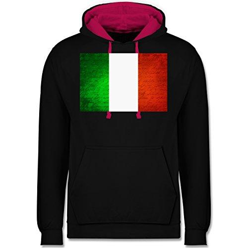 Länder - Flagge Italien - Kontrast Hoodie Schwarz/Fuchsia