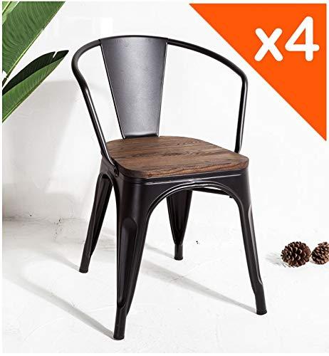 JA STORE FR - Stuhl, industrieller Stil, Metall, schwarz matt und Sitzfläche aus Holz