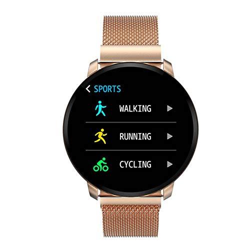 IP67 wasserdichte Fitness-Tracker, Smartwatch mit gratis austauschbarem Band Schwimmen Herzfrequenz Blutdruck Schlaf-Monitor Tracker Schrittzähler Outdoor Sport Armband, Gold, Free Size -