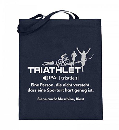 Borsa In Juta Di Alta Qualità (con Manici Lunghi) - Triathlon - Dizionario Triatleta Blu Intenso