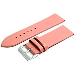 Fine Calf Leather Watch Strap Band 28mm Pink with Chrome (Silver Colour) Buckle. Free Spring Bars (Watch Pins)
