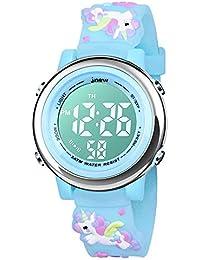 BIGMEDA Reloj Digital para Niños Niña, Luz Intermitente LED de 7 Colores Reloj de Pulsera Niña Multifunción, para Niños de 3 a 12 años (AzulUnicornio)
