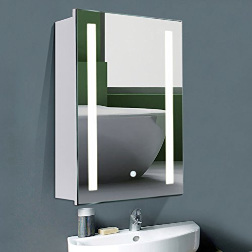 WarmieHomy Modern LED Bathroom Mirror Cabinet with Touch Sensor and Demister Pad 700x500mm