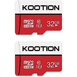 Carte Micro SD 32 Go KOOTION Lot de 2 SD Carte Mémoire UHS-I jusqu'à 85 m/s,TF Micro SDHC, T-Flash Classe 10, U1 pour Drone/Dash Cam/Camera/Phone/Nintendo-Switch/PC/Tablet