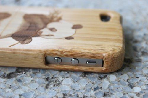 SunSmart Handmade Unikat Holz Hülle Bambus Schutzhülle für iPhone 4 4S (one piece) panda