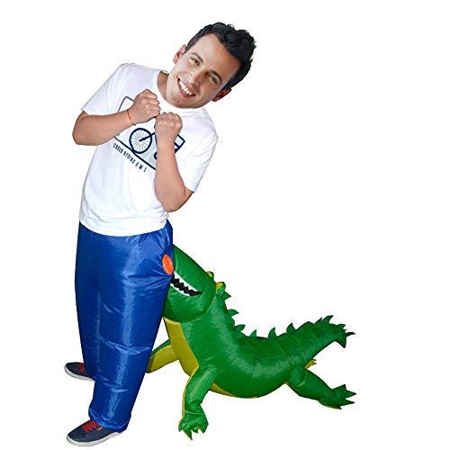 Zhanghaidong Lustiges Krokodil-Beißender Esel-Erwachsene Aufblasbare Kleidung Halloween Cosplay Partei-Aufblasbares Spielzeug Kleidet Puppe Aufblasbare Kleidung Grünes Krokodilkleidungs-Stab Cosplay