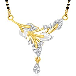 V. K. Jewels Stylish Leafy Gold Brass Alloy Cz American Diamond Mangalsutra For Women Vkmp1426G