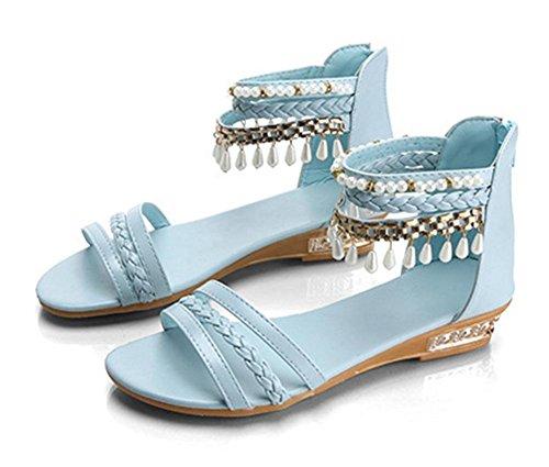 Sommer nach Reißverschluss flache Sandalen Frauen lässig Sandalen Studentinnen Blue