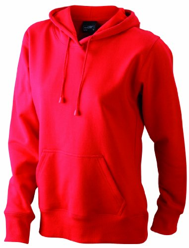 James & Nicholson Damen Sweatshirt Sweatshirt Ladies Hooded Sweat Rot (Red)