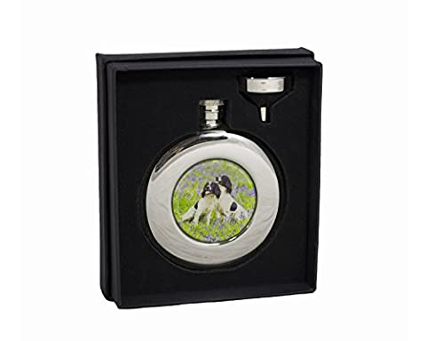 Bisley Hip Flask 4.5oz Round Spaniels stainless steel in Presentation Box