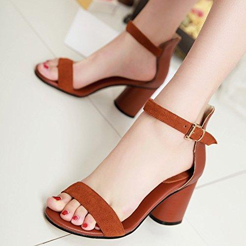 WSS chaussures à talon haut Confort décontracté avec sandales sandales chunky talons bout ouvert féminin Brown