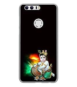 PrintVisa Lord Shri Bal Krishna High Glossy Metal Designer Back Case Cover for Huawei Honor 8