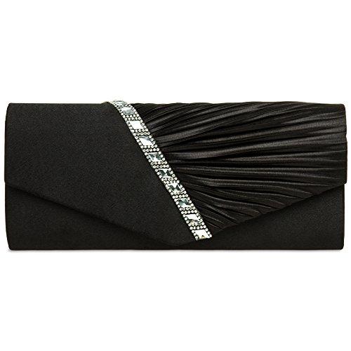 Caspar ta391 donna pochette elegante in raso con strass e drappeggio , colore:nero;dimensioni:taglia unica