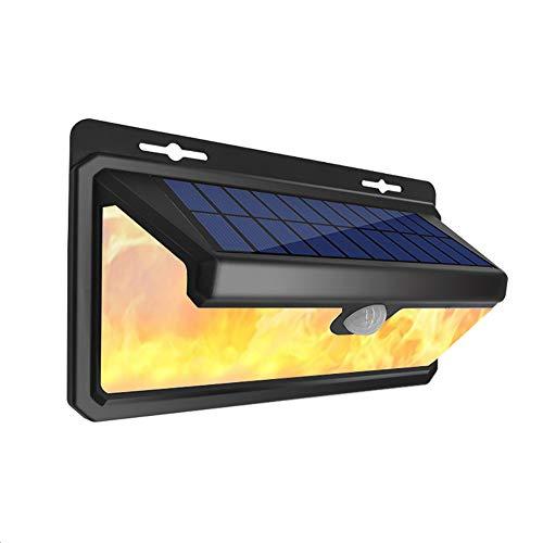 Solarlicht wasserdichte drahtlose Wandleuchte Bewegungssensor Licht 2 Arten von Beleuchtungsmodus (weißes Licht und Flammenlicht), 158LED Smart Light 270 ° Weitwinkelbeleuchtung