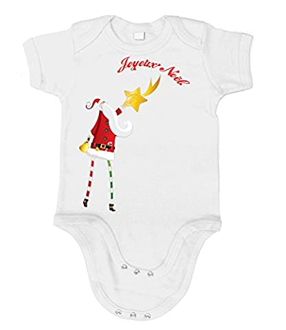 Artdiktat Bébé Organic Bodysuit - Bodys - Père Noël avec une étoile Größe 76/86, weiß