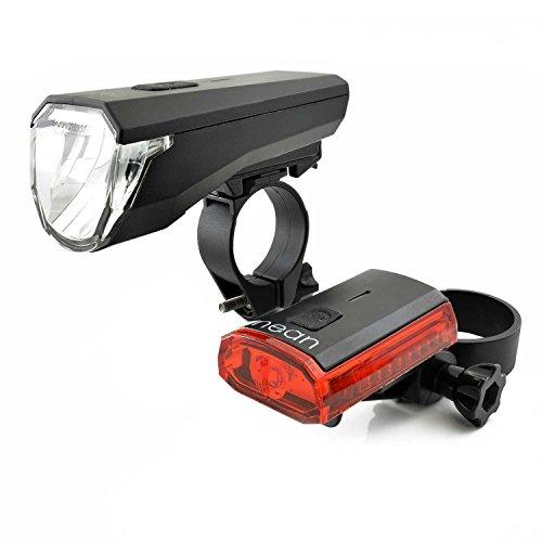 nean LED Fahrrad-Akku-Beleuchtung, 70 Lux, StVO-Zulassung, Wasser-Regen-Wetter-Dicht-Stoß-Fest, USB-Wieder-Aufladbar, Fahrrad-Lampe-Licht-Set-Front-Scheinwerfer-Rück-Leuchte-Schlusslicht 270 Grad, schwarz (Led-fahrrad-beleuchtung)