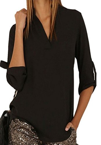 arrowhunt-womens-casual-solid-v-neck-cuffed-sleeve-chiffon-blouse-black
