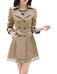 Yvelands Moda Mujer Suelta Invierno cálido botón de Manga Larga Chaqueta de Encaje Abrigo con cinturón Blusa Superior