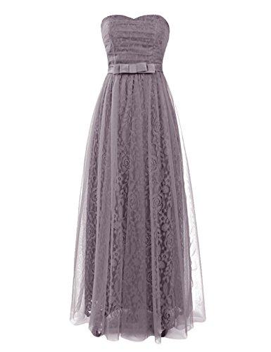 Dresstells Damen Homecoming Kleider Abendkleider Bodenlang Grau