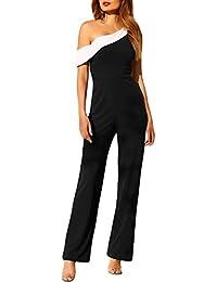 Toocool - Overall donna tutina jumpsuit tuta intera pantaloni monospalla  elegante DL-2257 42cd4cd9f01