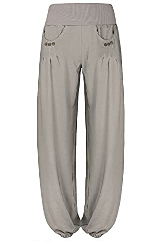 BAISHENGGT Women's Casual Baggy Long Lounge Harem Pants Trousers Grey X-Large