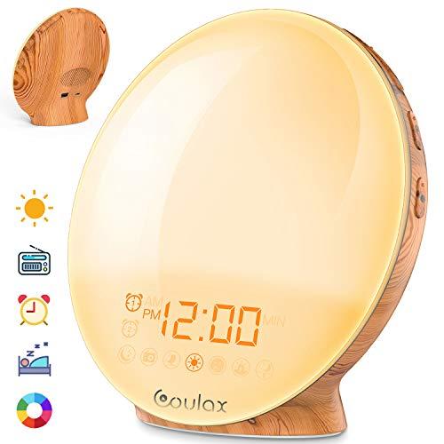 COULAX Lichtwecker Holz Wake up Licht Wecker Sonnenaufgang mit 6 natürlichen Sounds & 7-farbige Sonnenaufgangssimulation und Nachtlicht bei Sonnenuntergang FM-Radio Holzmaserung Nachttischlampe