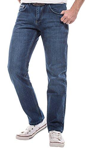Lorenzo Loren Herren Jeans Hose Blau Designer Clubwear Vintage Destroyed W29- W44 LL-2516 Blau
