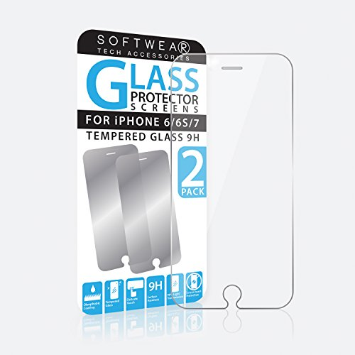 Twin Pack Tempered Glas Screen High Definition Displayschutzfolie für iPhone 6/6S/7 von SOFTWEAR Industries® -