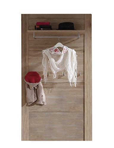 garderoben paneele trendteam smart living Garderobe Gardrobenpaneel Cougar, 96 x 182 x 27 cm in Eiche San Remo Hell Dekor mit 5 Garderobenhaken und einem Regalboden inklusive Kleiderstange