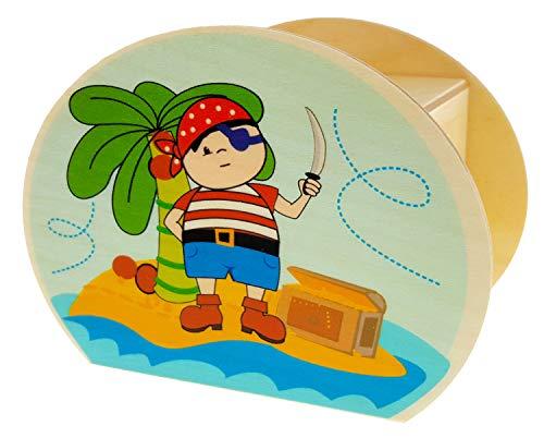 Hess Holzspielzeug 15221 - Hucha de Madera con Llave, Piratas y Barco, Regalo de cumpleaños para niños, Aprox. 11,5 x 8,5 x 6,5 cm