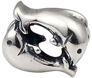 Ciondolo a forma di delfino, in argento Sterling 925, adatto per Pandora per braccialetti componibili