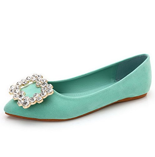 AalarDom Women's Pointed Closed Toe Imitated Suede Flats-Shoes with Glass Diamond, Green, 36 (Melissa Shoes Jelly)