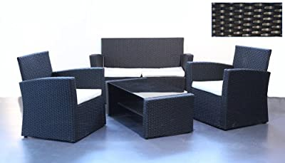 "Rattan Outdoor/Indoor Sitzgruppe '""Milano"" 4tlg. Lounge Set"