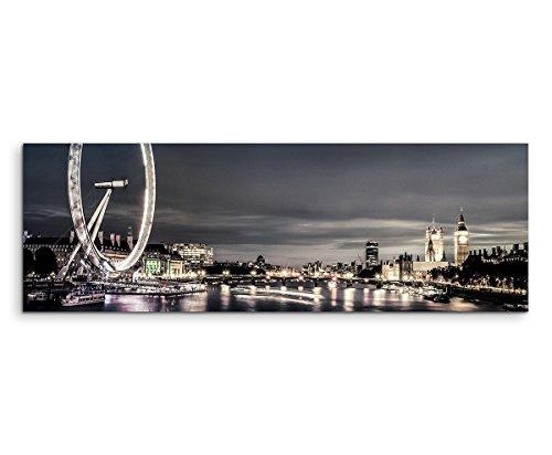 Sinus Art XXL Panoramabild 150x50cm Urbane Fotografie - London im Zwielicht (London Eye-bild)