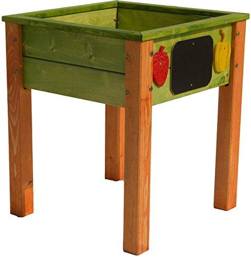 Hochbeet aus Holz für Kinder, hohe Standsicherheit, grün/orange, 50x50x62 cm, Sandkasten Kräuterbeet