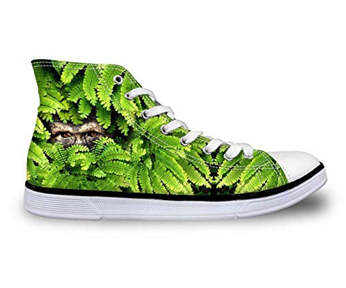 Animals Tiger Womens Girls Comfort High Top Sneakers Hiking Walking Canvas Shoes Orangutan 9