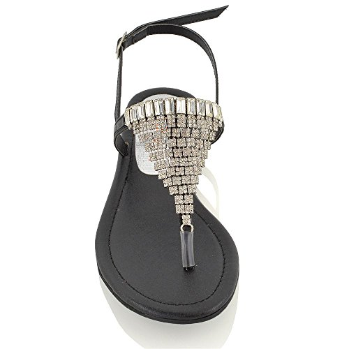 Essex Glam Sandalo Donna Infradito con Cinturino Posteriore Finto Diamante Effetto Scintillante Nero