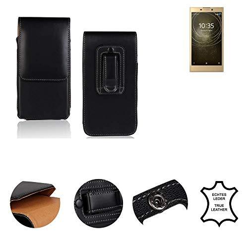 K-S-Trade® Gürtel Tasche Für Sony Xperia L2 Dual-SIM Handy Hülle Gürteltasche Schutzhülle Handy Tasche Schutz Hülle Handytasche Seitentasche Vertikaltasche Etui, Leder Schwarz, 1x