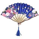 SLB Works Polyester Floral Printed Outside Tassel Ornament Handmade Craft Folding Hand Fan Multicolor