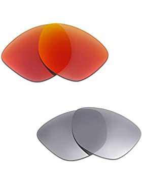 Hkuco Plus Mens Replacement Lenses For Oakley Frogskins Sunglasses Red/Titanium Polarized