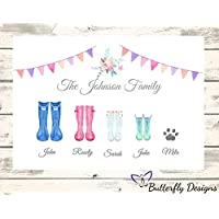 Personalised Watercolour Family Wellington Boots A4 PRINT (NO FRAME) Wellie Wellies Welly Rain Boot Tree Gift Present Mothers Day Christmas Birthday Wedding - Design 2