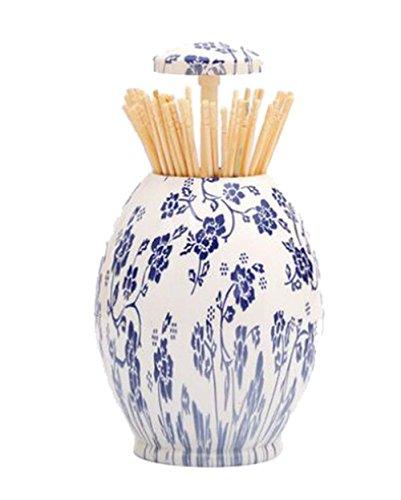 style chinois pression de la main porte-cure-dent automatique, Bleu et blanc