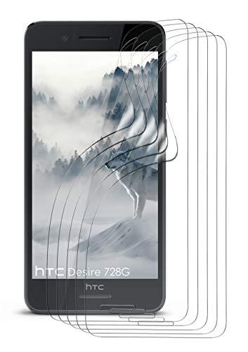 moex 5X HTC Desire 728G | Schutzfolie Klar Bildschirm Schutz [Crystal-Clear] Screen Protector Display Handy-Folie Dünn Bildschirmschutz-Folie für HTC Desire 728G Bildschirmfolie