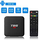 Android TV Box, T95 S1 Smart Box with 1GB RAM 8GB ROM Android 7.1 Amlogic S905W Quad core cortex-A53 Processor HDMI 2.0 H.265 2.4GHz WIFI 100M Ethernet