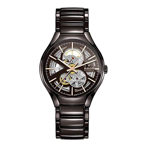 Rado Men's True Open Heart 40mm Brown Ceramic Band & Case Automatic Skeleton Dial Analog Watch R27511302