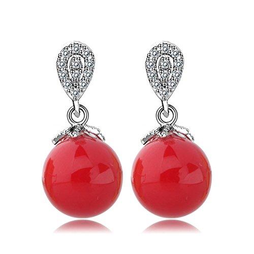 5 - Beydodo Pendientes Chapado en Oro Pendientes Bola Gota Pendientes de Mujer Pendientes Cristal Color Coral Pendientes Rojo