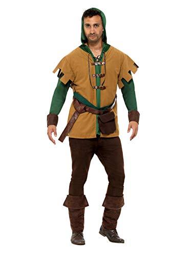 änner Männer mittelalterliches Robin Hood Kostüm mit Tunika, Gürtel, Tasche und Überstiefel, perfekt für Karneval, Fasching und Fastnacht, M, Braun ()