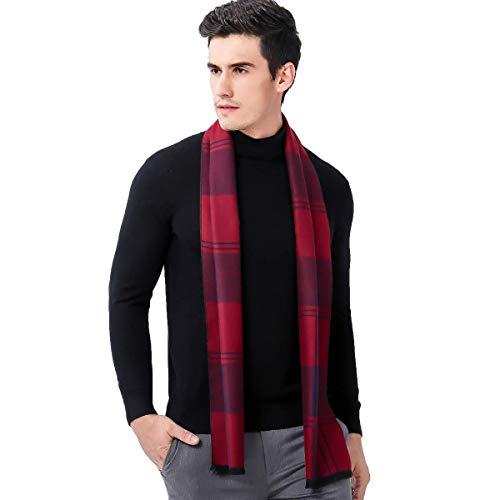 Heekpek® Sciarpa Uomo Sciarpe Plaid Sciarpa Maglieria Invernale 180 * 30cm (tartan rosso)
