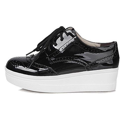 VogueZone009 Femme Lacet Pu Cuir Rond Couleur Unie Chaussures Légeres Noir